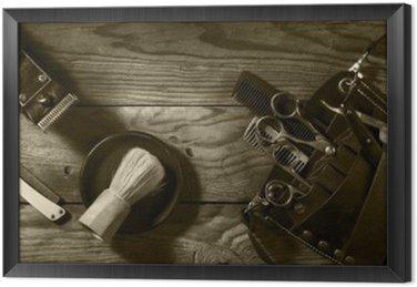 Gerahmtes Leinwandbild Vintage Satz von Barbershop.Toning Sepia