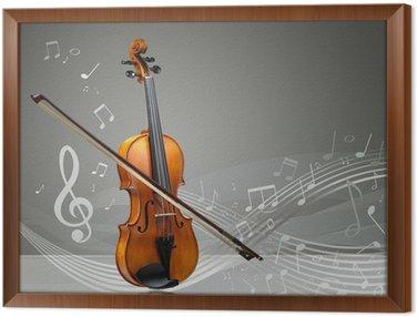 Gerahmtes Leinwandbild Violine und Geige-Stick mit Noten