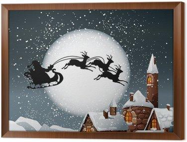 Gerahmtes Leinwandbild Weihnachten Illustration von Santa und seine Rentiere
