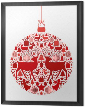 Gerahmtes Leinwandbild Weihnachtskugel aus weihnachtlichen Motiven