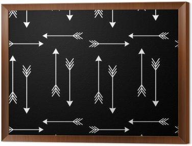 Gerahmtes Leinwandbild Weiße Pfeile auf schwarzem Hintergrund nahtlose Vektor-Muster illustration__