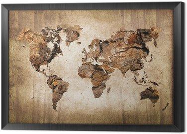 Gerahmtes Leinwandbild Weltkarte aus Holz im Vintage-Stil