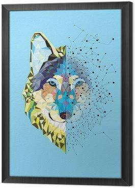 Gerahmtes Leinwandbild Wolf Kopf in geometrische Muster mit Sternlinienvektor