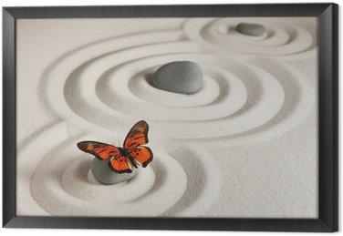 Gerahmtes Leinwandbild Zen Felsen mit Schmetterling