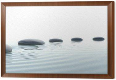 Gerahmtes Leinwandbild Zen-Weg der Steine im Breitbildformat