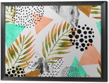 Gerahmtes Leinwandbild Zusammenfassung Sommer geometrische nahtlose Muster