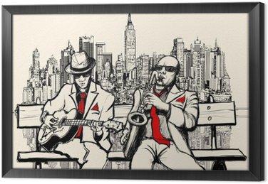 Gerahmtes Leinwandbild Zwei Männer spielen Jazz in New York