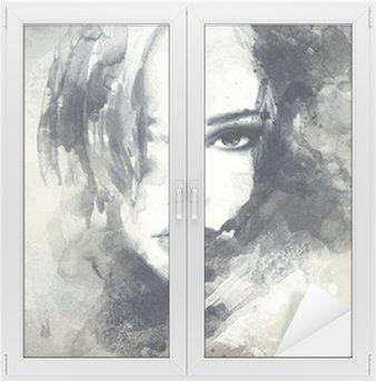 Glas- och Fönsterdekorer Abstrakt kvinna stående