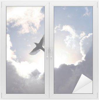 Glas- och Fönsterdekorer Ängelfågel i himlen