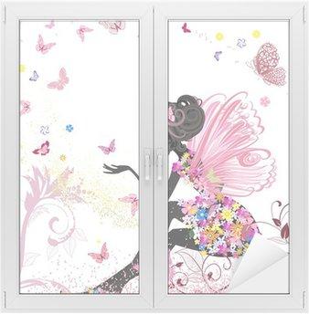 Glas- och Fönsterdekorer Blommafe i miljön av fjärilar