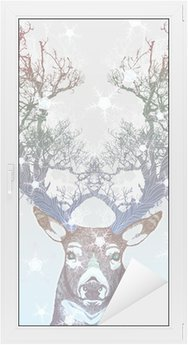 Glas- och Fönsterdekorer Frysta träd horn rådjur