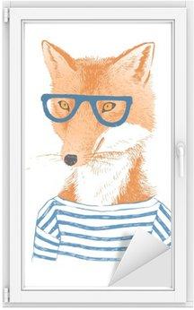 Glas- och Fönsterdekorer Handritad utklädd räv i hipster stil