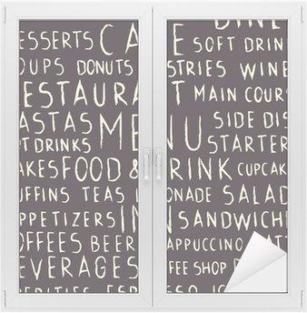 Glas- och Fönsterdekorer Handskriven restaurang relaterade sömlösa mönster på svart tavla