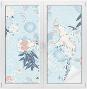 Glas- och Fönsterdekorer Kimono bakgrund med kran och blommor