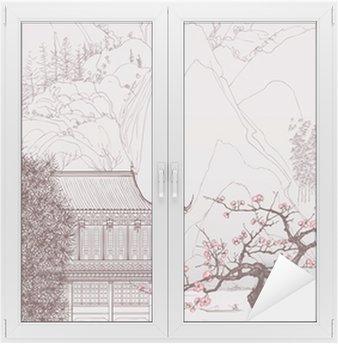 Glas- och Fönsterdekorer Kinesiska landskapet