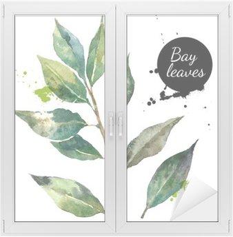 Glas- och Fönsterdekorer Kök örter och kryddor banner. Vektor illustration. Vattenfärg