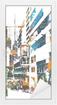 Glas- och Fönsterdekorer Modern urban stad, illustration målning