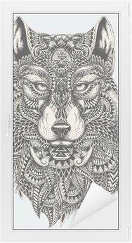 Glas- och Fönsterdekorer Mycket detaljerade abstrakt wolf illustration