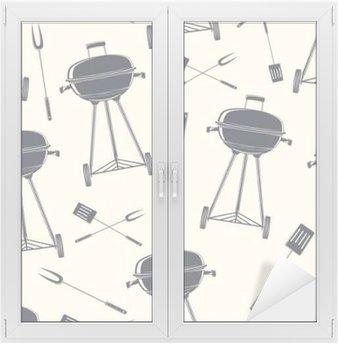 Glas- och Fönsterdekorer Retro grill, seamless.