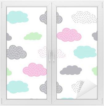 Glas- och Fönsterdekorer Seamless färgrik modell med moln för barn semester. Söt baby shower vektor bakgrund. Barn ritning stil illustration.