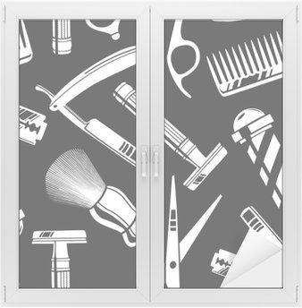 Glas- och Fönsterdekorer Seamless mönster bakgrund med vintage barberare butik verktyg