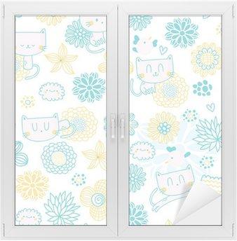 Glas- och Fönsterdekorer Söt sömlösa mönster med roliga tecknade katter, fåglar och blommor