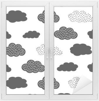 Glas- och Fönsterdekorer Svart och vitt sömlösa mönster med moln. Söt baby shower vektor bakgrund. Barn ritning stil illustration.