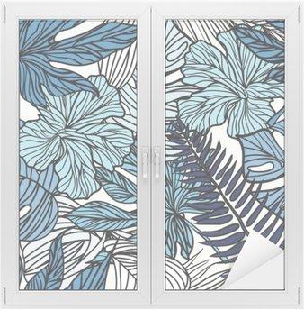 Glas- och Fönsterdekorer Tropiska exotiska blommor och växter med gröna blad av palm.