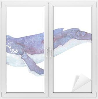 Glas- och Fönsterdekorer Vattenfärg whale