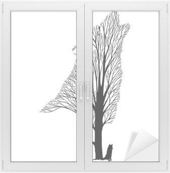 Glas- och Fönsterdekorer Wolf tjut blanda träd ritning tatuering vektor