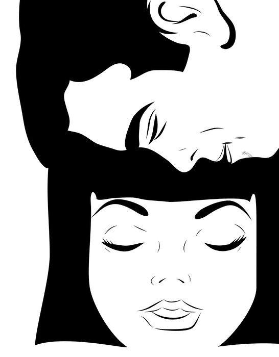 gros plan visage homme et jeune femme tendresse
