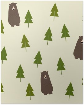HD Poster Bear and forest seamless background.