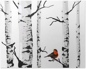 HD Poster Bird of Birken, Vektor-Zeichenprogramm mit editierbaren Elemente.