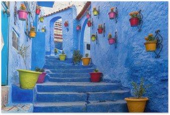 HD Poster Blaue Treppe und Wand mit bunten Blumentöpfe, Medina Chefchaouen in Marokko.
