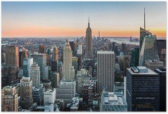 HD Poster Die Skyline von New York bei Sonnenuntergang