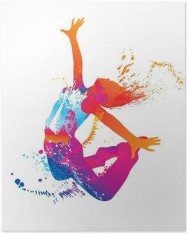 HD Poster Die tanzenden Mädchen mit bunten Flecken und Spritzer auf weißen