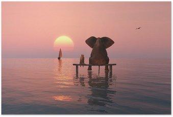 HD Poster Elefant und Hund sitzt in der Mitte des Meeres