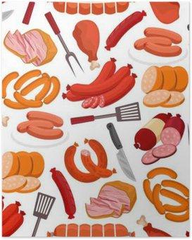 HD Poster Fleisch und Wurst Vektor nahtlose Muster