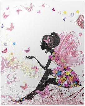 HD Poster Flower Fairy in der Umgebung von Schmetterlingen