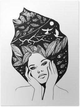 HD Poster __illustration, grafische Schwarz-Weiß-Porträt der Frau