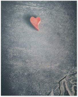HD Poster Jahrgang getönten hölzernen roten Herzen auf Grunge-Stein Hintergrund, geringe Tiefenschärfe, Platz für Text.