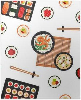 HD Poster Japanisches Essen. Meeresfrüchte. Sushi-Hintergrund. Seamless Pattern