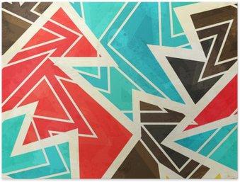 HD Poster Jugend geometrische nahtlose Muster mit Grunge-Effekt