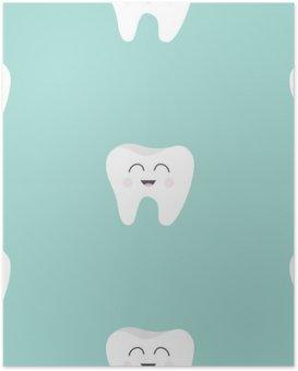 HD Poster Nahtlose Muster Zahngesundheit. Netter lustiger Cartoon lächelnd Charakter. Oral Zahnhygiene. Kinderzahnpflege. Baby-Textur. Flaches Design. Blauer Hintergrund.