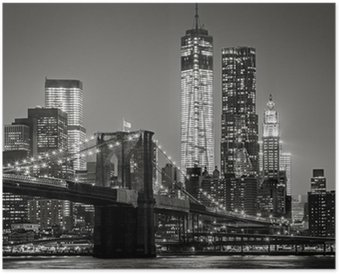 HD Poster New York bei Nacht. Brooklyn Bridge, Lower Manhattan - Schwarz ein