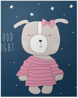 HD Poster Niedlichen Hund Pyjamas Vektor-Illustration tragen