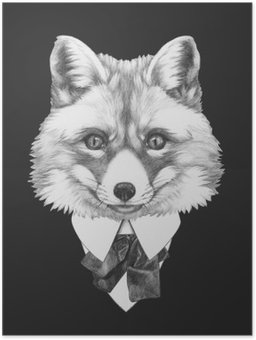 HD Poster Portrait von Fox in der Klage. Hand gezeichnete Illustration.