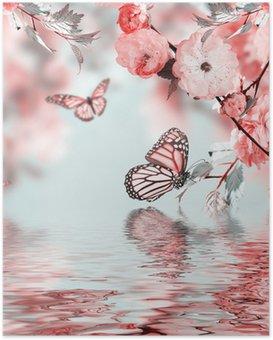 HD Poster Rosa Blume von einer Kirsche in Oriental und Schmetterling