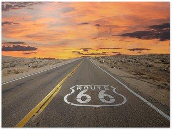 HD Poster Route 66 Bürgersteig Zeichen Sonnenaufgang Mojave-Wüste