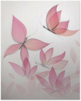 HD Poster Schmetterling wie eine Blume / Surreal floral background
